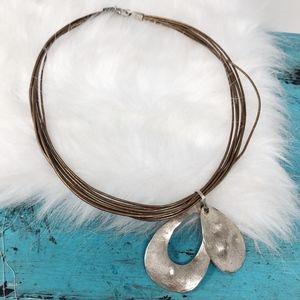 Silpada 925 Teardrop Pendant Gold Leather Necklace